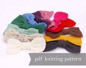 Bow Knitting Pattern. Knitted Bow Pattern. Headband Necklace Pendant Brooch Pin Knitting Pattern. Pdf Pattern. Applique Accessory Bowtie