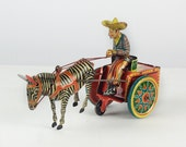Tin litho Lehmann Galop 852 Cowboy and Zebra Cart toy wind up authentic