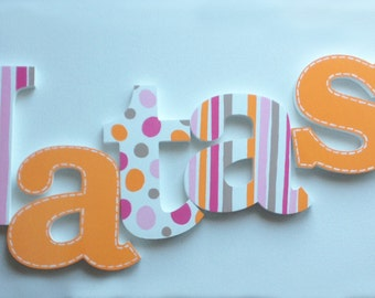 Bubble Gum Pink and Orange Wooden Wall Name Letters / Hangings Hand Painted for Girls Rooms, Play Rooms and Nursery Rooms