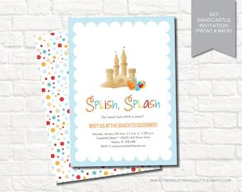 Sandcastle Beach Summer Birthday Party Digital Printable Invitation