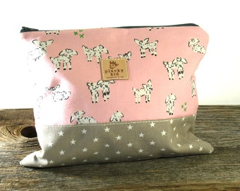 Pink Lamb Print Knitting Project Bag, Needle Case, Cotton, IN STOCK