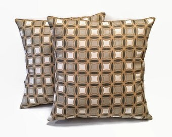 Geometric Pillow Covers, 18x18 Pillow Covers, Mustard, Grayish Taupe Pillows, Home Decor, Pillow Decor, Multicolor Pillows, Home Accents