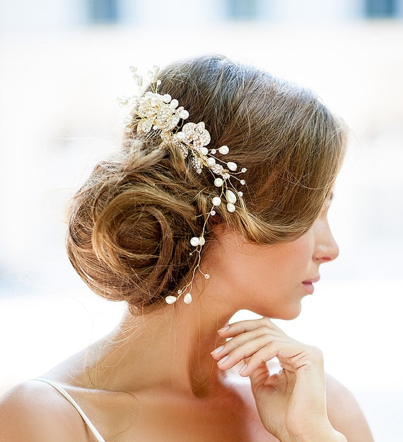 Huge Dazzling Wedding Crystal Hair Piece Gold Vine Hair