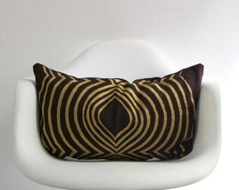 "Aya contour 12x21"" pillow cover handprinted in metallic gold on brown organic hemp"
