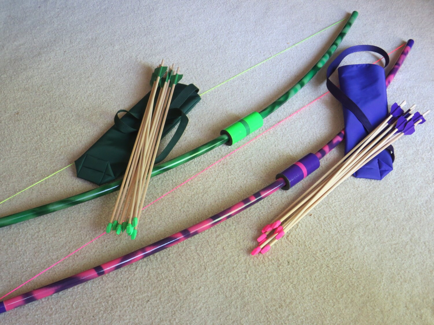 Longbows 2 pack pvc sets 2 quivers 20 eraser arrows outdoor for Kids pvc bow