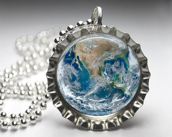Planet Earth Jewelry Bottlecap Pendant Necklace - Free Ball Chain