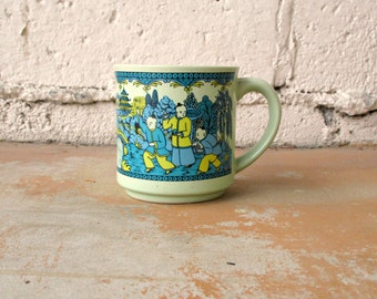 Vintage Asian Mug, Green and Blue Retro Coffee Cup, Asian Monk Pagoda Scene Made in Japan, Mint Green Turquoise Blue Chartreuse Black Mug