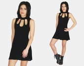 Black CUTOUT Slinky MINI Dress Vtg 90's Princess Cut Sleeveless Goth Minimalist Rocker High Collar Babydoll Stretchy - Small/Medium
