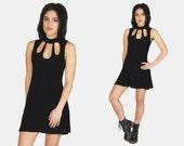 Black CUTOUT Slinky MINI Dress Vtg 90's Princess Cut Sleeveless Goth Minimalist Rocker High Collar Babydoll Stretchy - Small/Medium