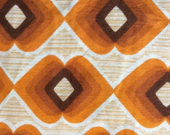 Reserved for Vincent  Large Piece vintage Original 1950's/60's Geometrical/ Abstract Design in Orange, Brown and White Manmade Fabric