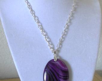 Passionate Purple/Genuine purple agate pendant with oval link chain/womens purple agate pendant/purple agate pendant with oval link chain