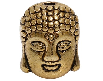 20 Antique Gold BUDDHA HEAD Metal Spacer Beads, 11mm, bme0391