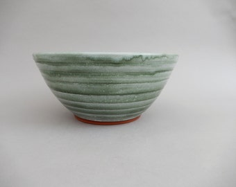 Green Pottery Bowl - Glazed Ceramic Mixing Serving Bowl
