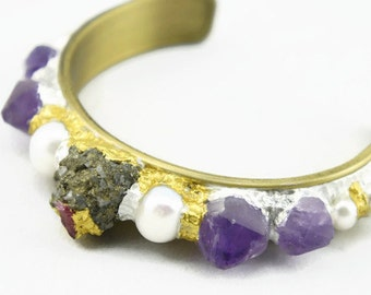 Stunning, lux amethyst, pyrite, freshwater pearl, ruby and gold cuff raw gem bangle