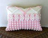 Decorative pillow cover 12 X 16 PINK LATTICE chenille cushion cover, cottage chic pillow cover, shabby style porch pillow sham, pink lumbar