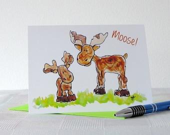 Wildlife Note Card // Printed Art Notecards // Moose Card
