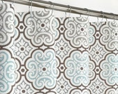 "AQUA Medallion Shower Curtain - 72"" Wide x 72, 78, 84, 90, 96 Long - Extra Long - Gray Brown"