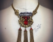RESERVED FIRST PAYMENT Fabulous Vintage Czech Festoon Necklace Circa 1930s-1940s Bold Red Rhinestones Repousee Brass Details