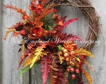 Fall Wreath, Autumn Wreaths, Thanksgiving Wreath, Woodland Wreath, Elegant Fall Wreath, Luxury Designer Wreath, Fall Floral Wreath