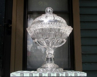 Victorian Covered Compote on Sale EAPG Cottage Pattern US Glass 1890s Formal Dining & Entertaining