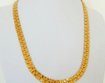 Vintage Textured Gold Flat Chain Choker Necklace
