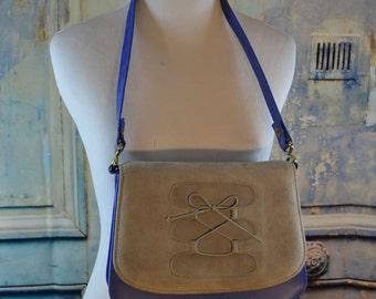 vintage retro Life Stride vegan blue gray purse handbag