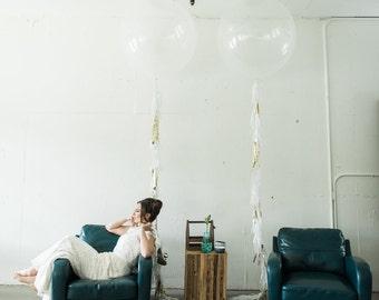 Tissue Fringe Balloon Garland // tissue tassel garland // balloon garland // photo prop // wedding reception decoration // baby shower decor