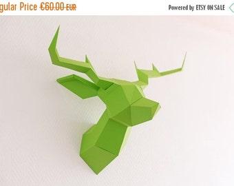 SOLDES/ON SALE Green Foldeer - Deer Head Papertoy