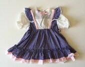 1980's Calico Flutter Sleeve Dress (2t/3t)