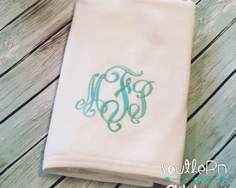Personalized Newborn blanket Gift Monogram  for Boys or Girls Great Shower Gift