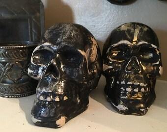 Halloween skull decor ceramic skull gold skull silver skull aged skull decoration spooky skull Halloween decor small skull Upcycled