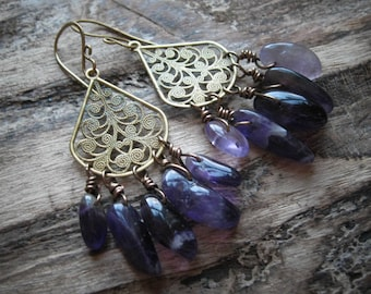 Amethyst Chandelier Statement Earrings.  Bohemian Dreamcatcher Earrings.  The Fortune Teller Sighs