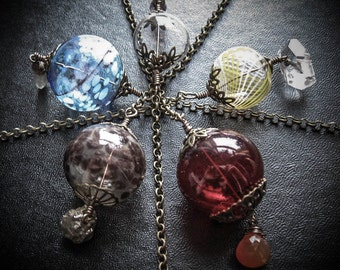Set of 5 Elemental Witch Balls for a Pagan Wiccan Altar