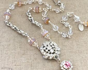 Repurposed Rhinestone Necklace - Vintage Rhinestone Repurposed Necklace - Romantic Flower Pendant Necklace