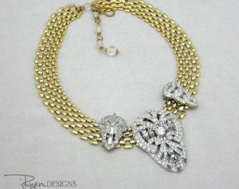 Repurposed Art Deco Rhinestone Necklace, Mixed Metal Jewelry Rhinestone Dress Clip Rhinestone Jewelry Statement Necklace Repurposed Jewelry