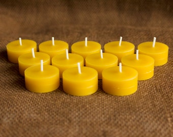 "100% Pure Beeswax Tea Light ""REFILLS"" - Quantity of 48"