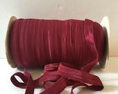 "Burgundy FOE Burgundy Fold Over Elastic #P343 Shiny Solid FOE- 5 or 10 yards 5/8"" inch Headbands Hair Ties Satin Elastic Soft Elastic"