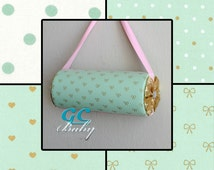 Standing or Hanging Custom Headband Holders - 4 Gold & Mint Green Fabrics in Polka Dots, Bows, or Hearts for Baby and Girl
