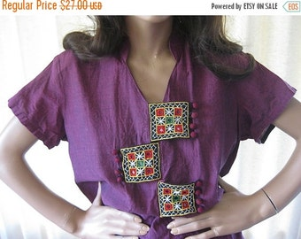 on sale Vintage Embellished Blouse/Indian Blouse/Boho Clothing/Embroidered Blouse/Mirrored Shirt/Boho Shirt/Ethnic Clothing/Cotton Indian Bl