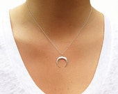 Double Horn Necklace - Crescent Moon - Gold Necklace - Silver Necklace -  Pendant Necklace