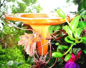 BIRD FEEDER, stained glass, Yellow-Orange, COPPER garden art, Hummingbird Feeder, outdoors, garden stake