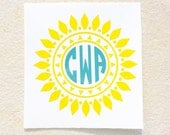 Sun Decal, Monogram Decal, Personalized Sun Decal, Sun Sticker, Vinyl Decal, Car Decal, Car Sticker, Yeti Decal, Wall Decal, Custom Decal