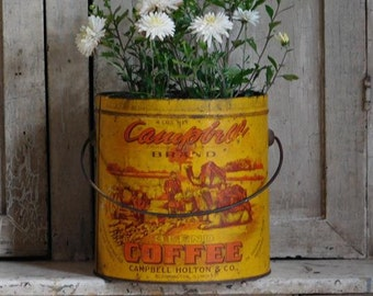 Primitive Antique Campbell Brand Coffee Tin Pail, Mustard Yellow Coffee Can, Campbell Holton & Co.