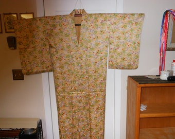 KOMON FLORAL  Vintage Japanese silk  Kimono unused woven Floral ferns   Dyed flowers  Soft Gold, Red Cream Green  dimensions below