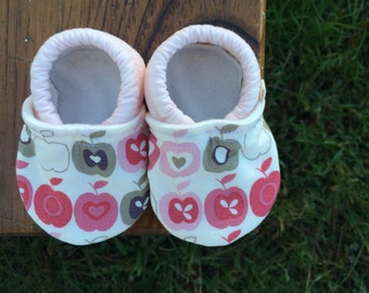 Baby Shoes for Girls - Pink and Cream Apple Fabric - Custom Sizes 0-24 months 2T 3T 4T