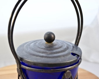 ON SALE Silver plate and Cobalt Blue Glass Condiments Jar, Mustard Jar, Relish Jar