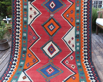 "Beautiful Tribal Handwoven vintage Kilim rug / Handwoven by Qashqai tribe in Shiraz/ home decor / Collection / 240x147cm / 7'10"" x 4'9"""
