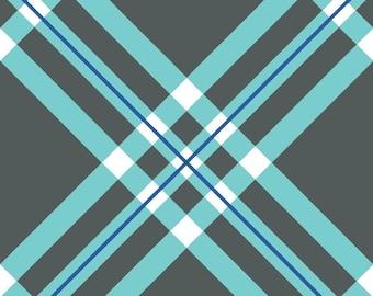 Diagonal Plaid Gray and Blue Custom Saddle Cover