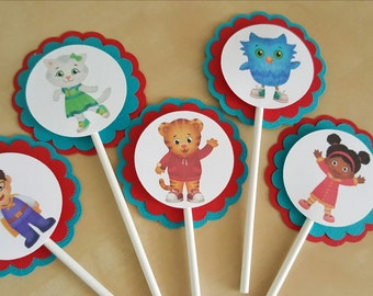 Daniel the Tiger Cupcake toppers , Daniel the Tiger Party decorations