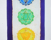 "chakra symbols silk wallhanging, spiritual gift,""Crystal Chakra"", chakra wallhanging, chakra art, reiki, healing art, yoga art,meditation"